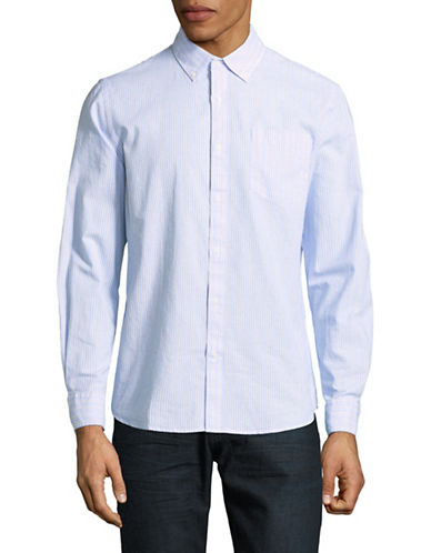 Black Brown 1826 Long-Sleeve Oxford Cotton Sport Shirt-BLUE-Large