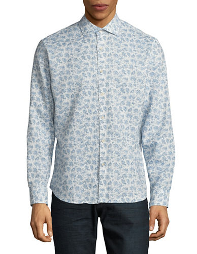 Black Brown 1826 Printed Sport Shirt-VISTA BLUE-Medium