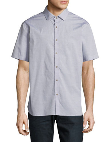 Black Brown 1826 Short Sleeve Sport Shirt-STONE GREY-Medium