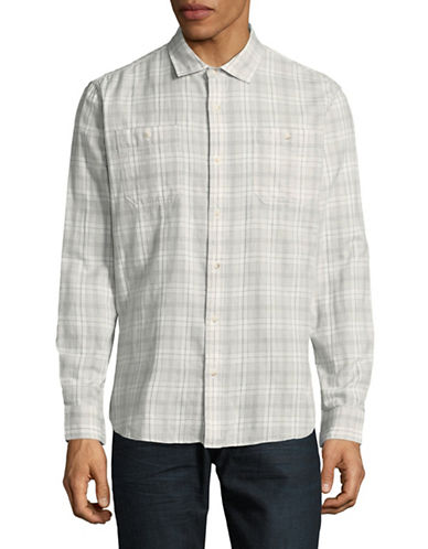 Black Brown 1826 Plaid Long Sleeve Sport Shirt-BEIGE-Large