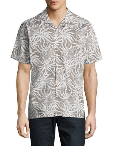 Black Brown 1826 Short Sleeve Printed Cotton Shirt-BEIGE-Small
