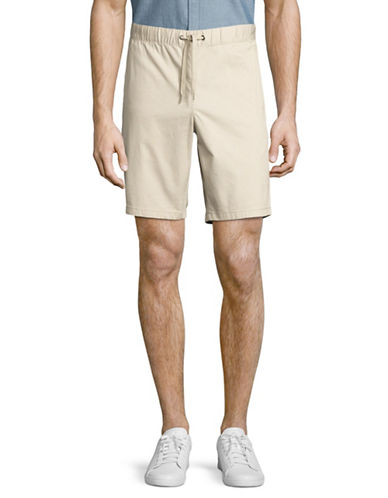 Black Brown 1826 Draw Cord Bedford Cord Shorts-BEIGE-36