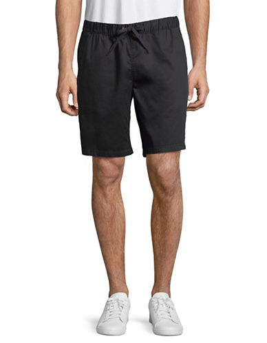 Black Brown 1826 Draw Cord Bedford Cord Shorts-BLACK-33