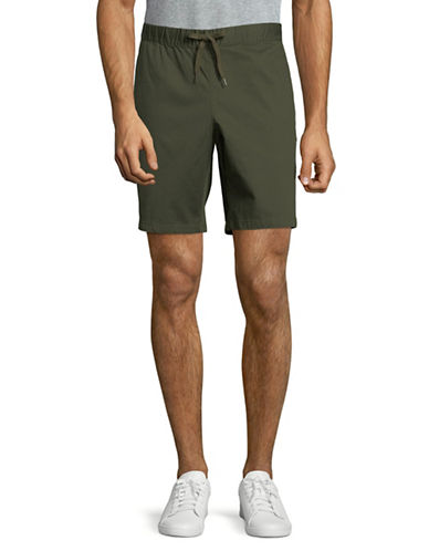 Black Brown 1826 Draw Cord Bedford Cord Shorts-GREEN-36