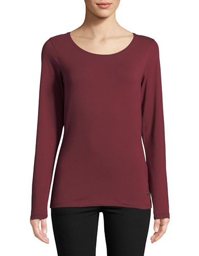 Manguun Basic Long-Sleeve Top-WINE-Large