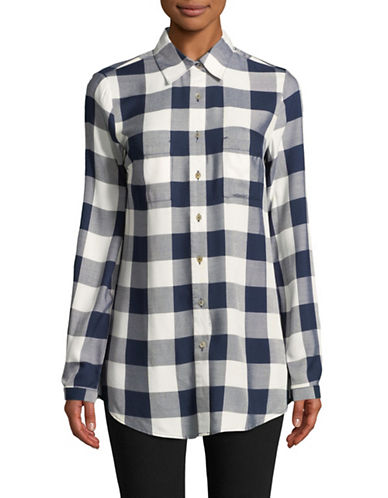Manguun Plaid Check Button-Down Shirt-BLACK-36