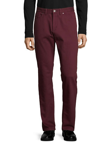 Black Brown 1826 Bedford Textured Straight-Leg Pants-RED-36X30