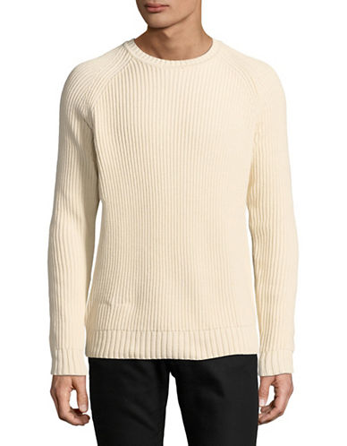 Black Brown 1826 Ribbed Cotton Sweater-BONE WHITE-XXX-Large