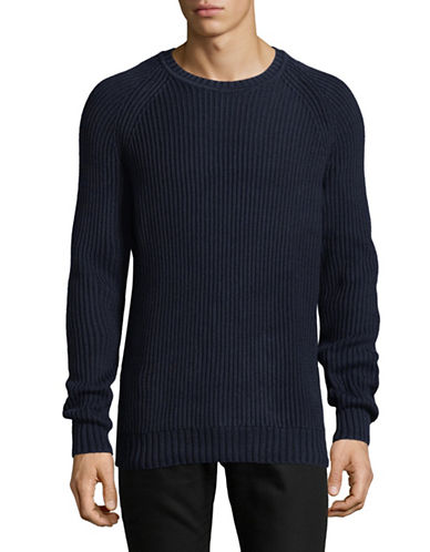 Black Brown 1826 Ribbed Cotton Sweater-AUTUMN NAVY-Medium