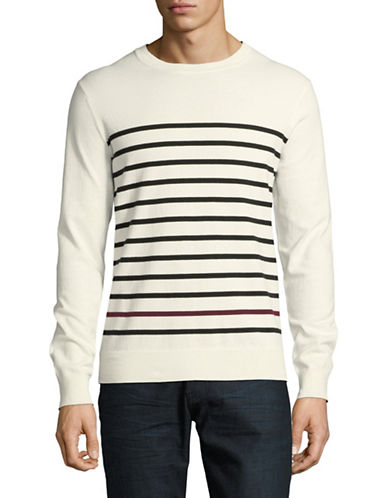 Black Brown 1826 Striped Crew Neck Sweater-VANILLA-XXX-Large