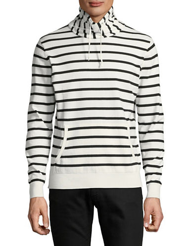 Black Brown 1826 Funnelneck Striped Hoodie-WHITE-X-Large