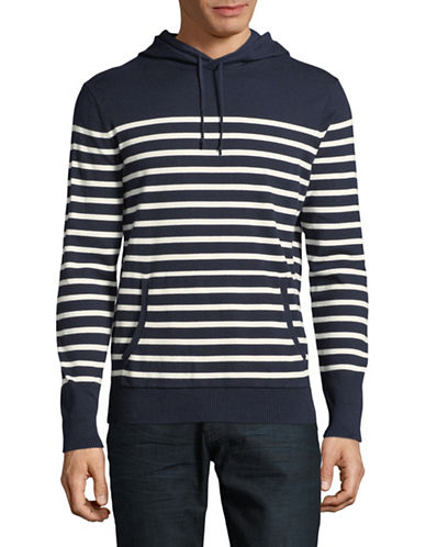 Black Brown 1826 Striped Hooded Pullover-AUTUMN NAVY-X-Large