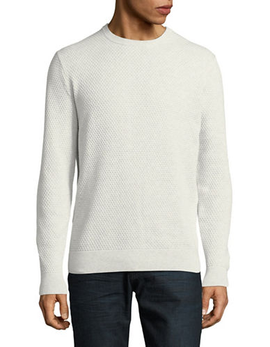 Black Brown 1826 Textured Crew Neck Sweater-LIGHT SMOKE-X-Large