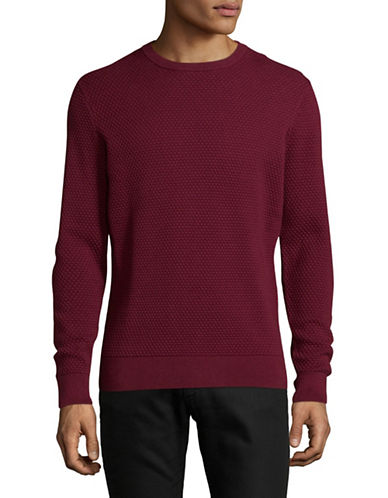 Black Brown 1826 Textured Crew Neck Sweater-OXBLOOD-X-Large