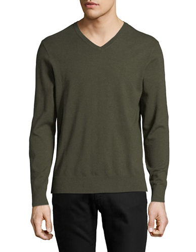 Black Brown 1826 V-Neck Sweater-GREEN-Large