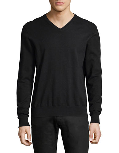 Black Brown 1826 V-Neck Sweater-BLACK-Small