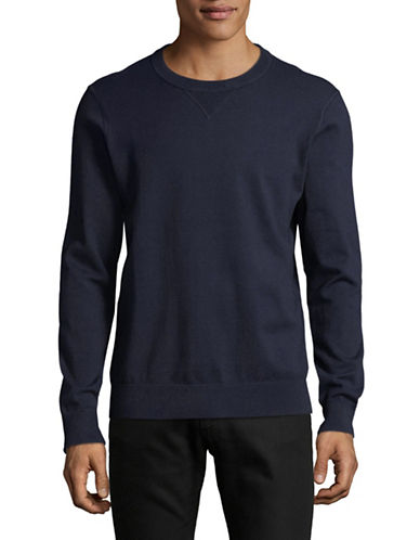 Black Brown 1826 Crew Neck Sweater-NAVY-Large