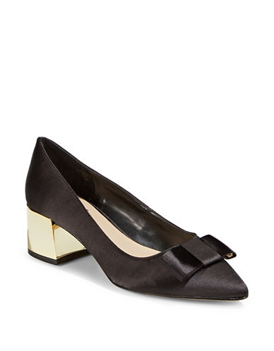 424 Fifth Darcy Block Heel Pumps-BLACK-6.5
