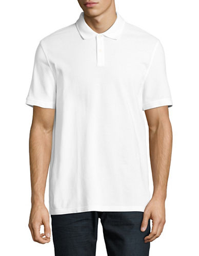 Black Brown 1826 Cotton Pique Short-Sleeve Polo-WHITE-Small