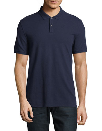 Black Brown 1826 Cotton Pique Short-Sleeve Polo-NAVY-Large