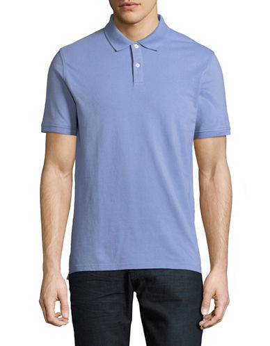 Black Brown 1826 Cotton Pique Short-Sleeve Polo-BLUE-Medium