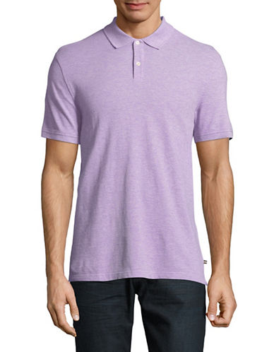 Black Brown 1826 Cotton Pique Short-Sleeve Polo-PURPLE-Large