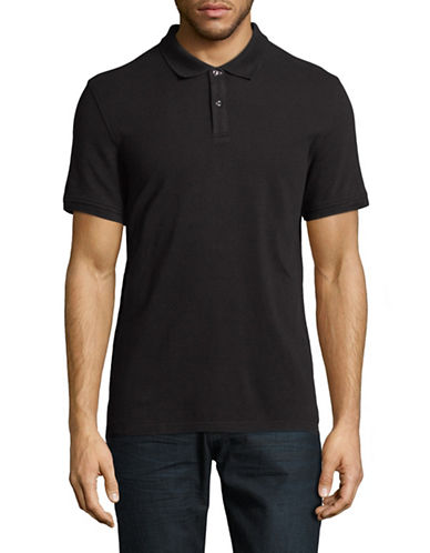 Black Brown 1826 Cotton Pique Short-Sleeve Polo-BLACK-X-Large