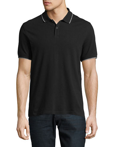 Black Brown 1826 Slim-Fit Short-Sleeve Polo-GREY-Small
