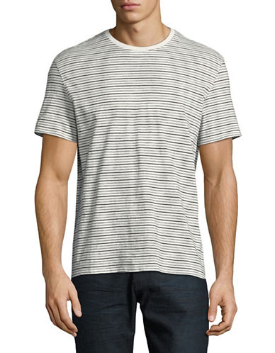 Black Brown 1826 Striped Cotton T-Shirt-GREY-XX-Large