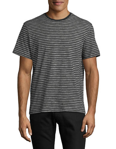 Black Brown 1826 Striped Short Sleeve Tee-GREY-Small