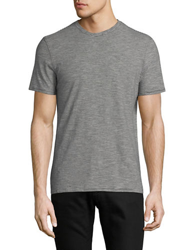 Black Brown 1826 Pinstripe Cotton T-Shirt-GREY-Large