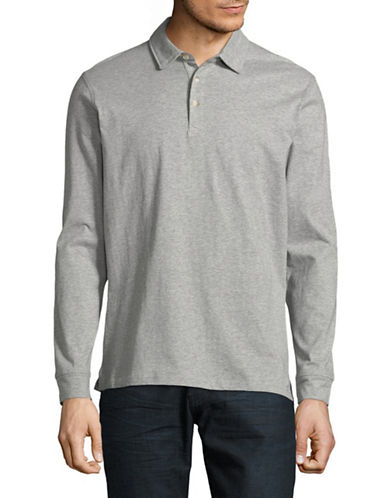 Black Brown 1826 Long-Sleeve Heather Cotton Polo-GREY-X-Large