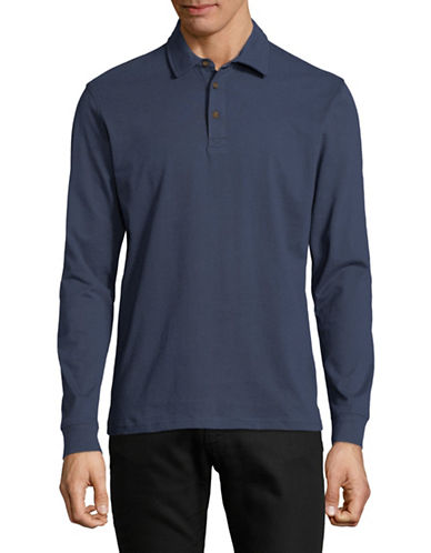 Black Brown 1826 Long-Sleeve Heather Cotton Polo-NAVY-Medium