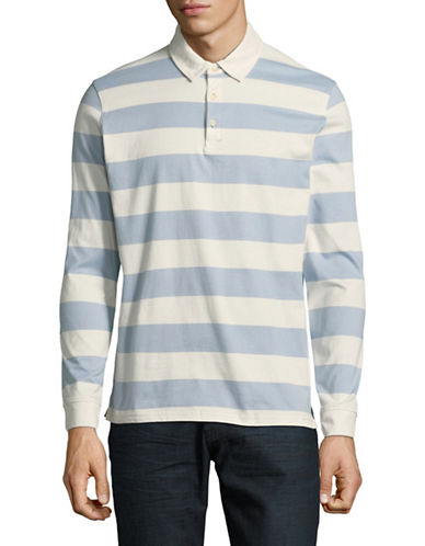 Black Brown 1826 Striped Long Sleeve Polo-PALE BLUE-Large