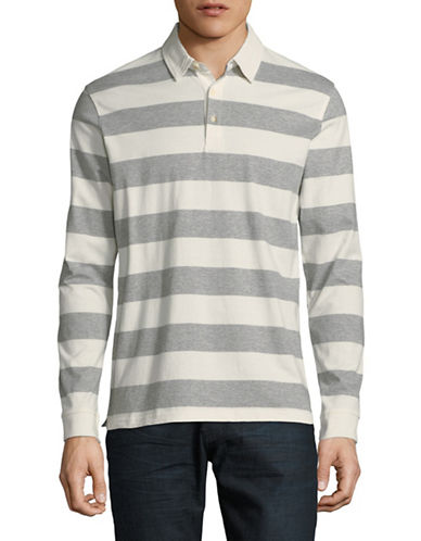 Black Brown 1826 Striped Long Sleeve Polo-GREY-Large
