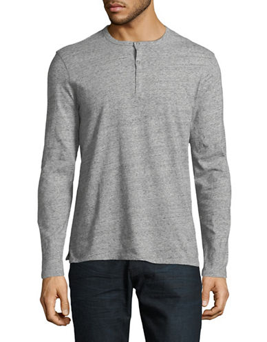 Black Brown 1826 Cloud Heather Cotton Jersey Henley-GREY-Medium