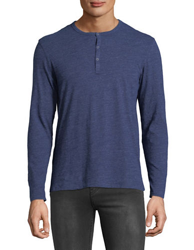 Black Brown 1826 Cloud Heather Cotton Jersey Henley-INDIGO-X-Large