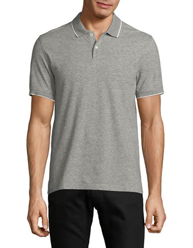 Black Brown 1826 Slim-Fit Short-Sleeve Polo-GREY MIX-Large