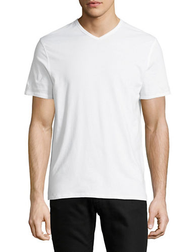 Black Brown 1826 Supersoft V-Neck Cotton Tee-WHITE-Small