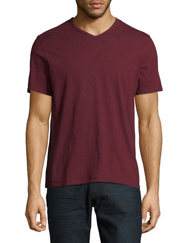 Black Brown 1826 Supersoft V-Neck Cotton Tee-RED-Large