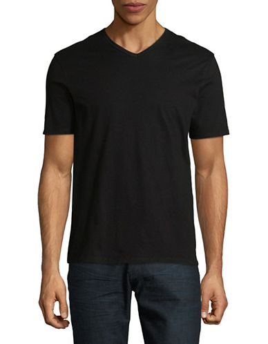 Black Brown 1826 Supersoft V-Neck Cotton Tee-BLACK-XXX-Large