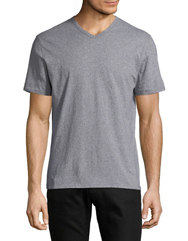 Black Brown 1826 Supersoft V-Neck Cotton Tee-GREY-Large