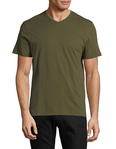 Black Brown 1826 Supersoft V-Neck Cotton Tee-GREEN-XX-Large