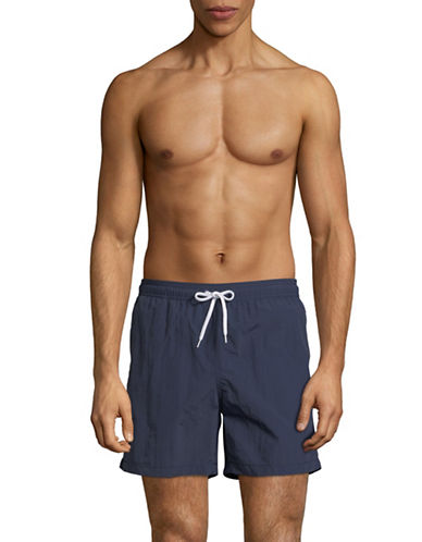 Black Brown 1826 Classic Volley Shorts-NAVY-Large