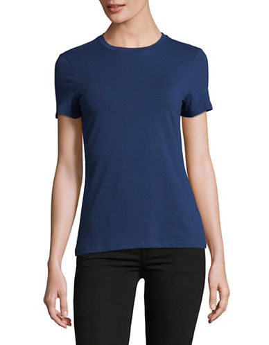 Lord & Taylor Petite Classic Short-Sleeve Tee-NAVY-Petite X-Large