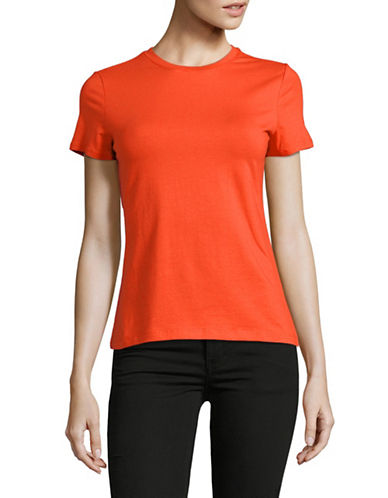 Lord & Taylor Petite Classic Short-Sleeve Tee-ORANGE-Petite X-Small