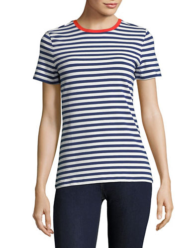 Lord & Taylor Plus Stripe Cotton Top-BLUE-Medium