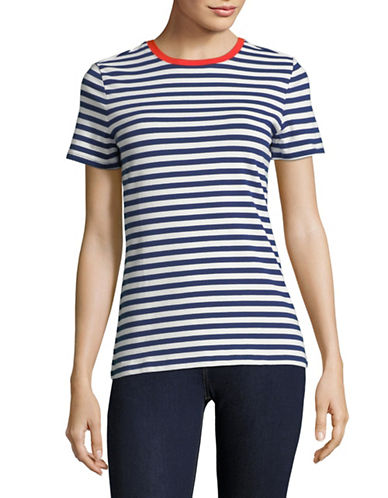 Lord & Taylor Petite Striped Cotton-Blend Tee-BLUE-Petite X-Large