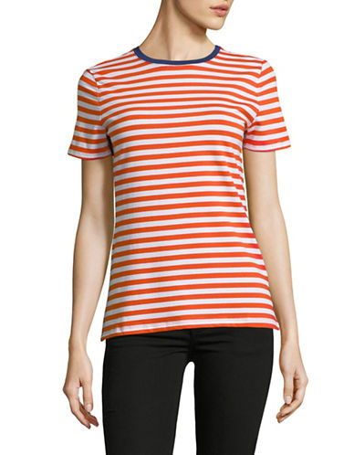 Lord & Taylor Petite Striped Cotton-Blend Tee-ORANGE-Petite X-Small