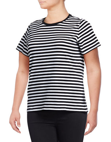 Lord & Taylor Plus Stripe Cotton Top-BLACK-Large